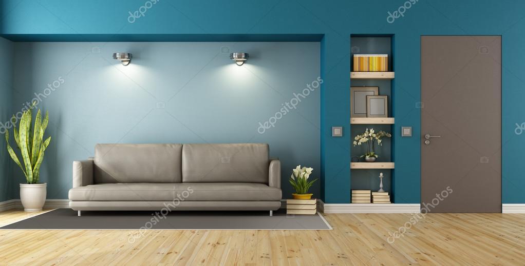 Lieblich Blau Und Braun Moderne Wohnzimmer Mit Sofa, Nischen Und Geschlossene Tür    3d Rendering U2014 Foto Von ...