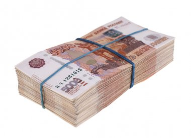 One million rubles. A stack of five thousandth Russian banknotes tapered rubber