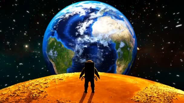 Astronaut na měsíci. 3D animace