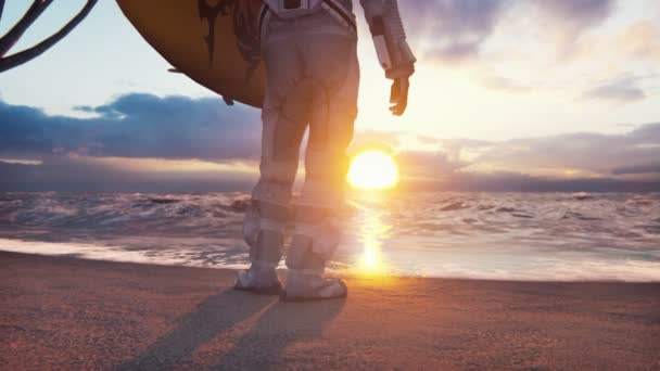 An astronaut with a surfboard stands on the shore of the ocean and admires the sunrise on an alien planet.The animation is for fantastic, the futuristic or space travel backgrounds.