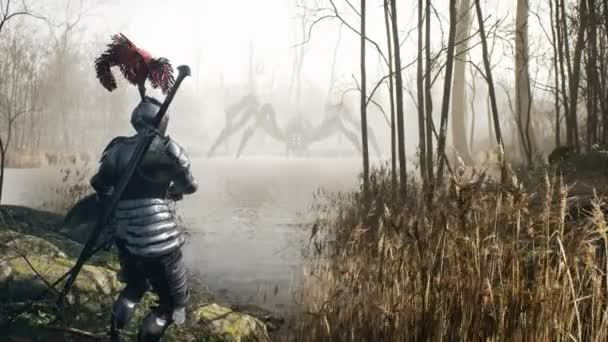 A brave medieval knight prepares to fight a lake monster that looks like a spider. Mystical nightmare concept. The animation for fantasy, mystical or horror backgrounds.
