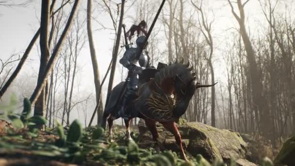 A brave medieval knight on his frisky horse prepares for battle. View of the fighting knight and his horse rearing up. The animation is for historical, medieval or military backgrounds.