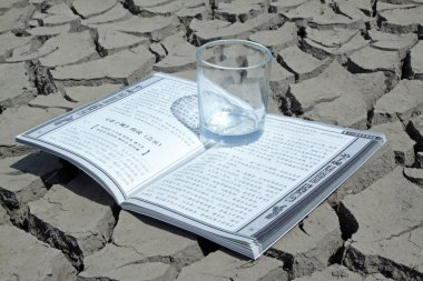 A book and a cup in the dry land