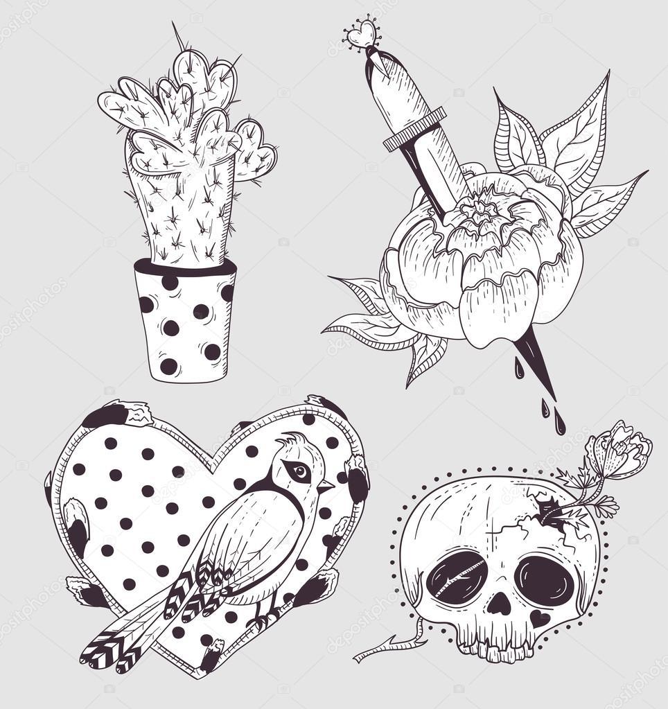 Tatouage Mignon Ensemble Cactus Fleur Crane Et Oiseaux Avec Coeur