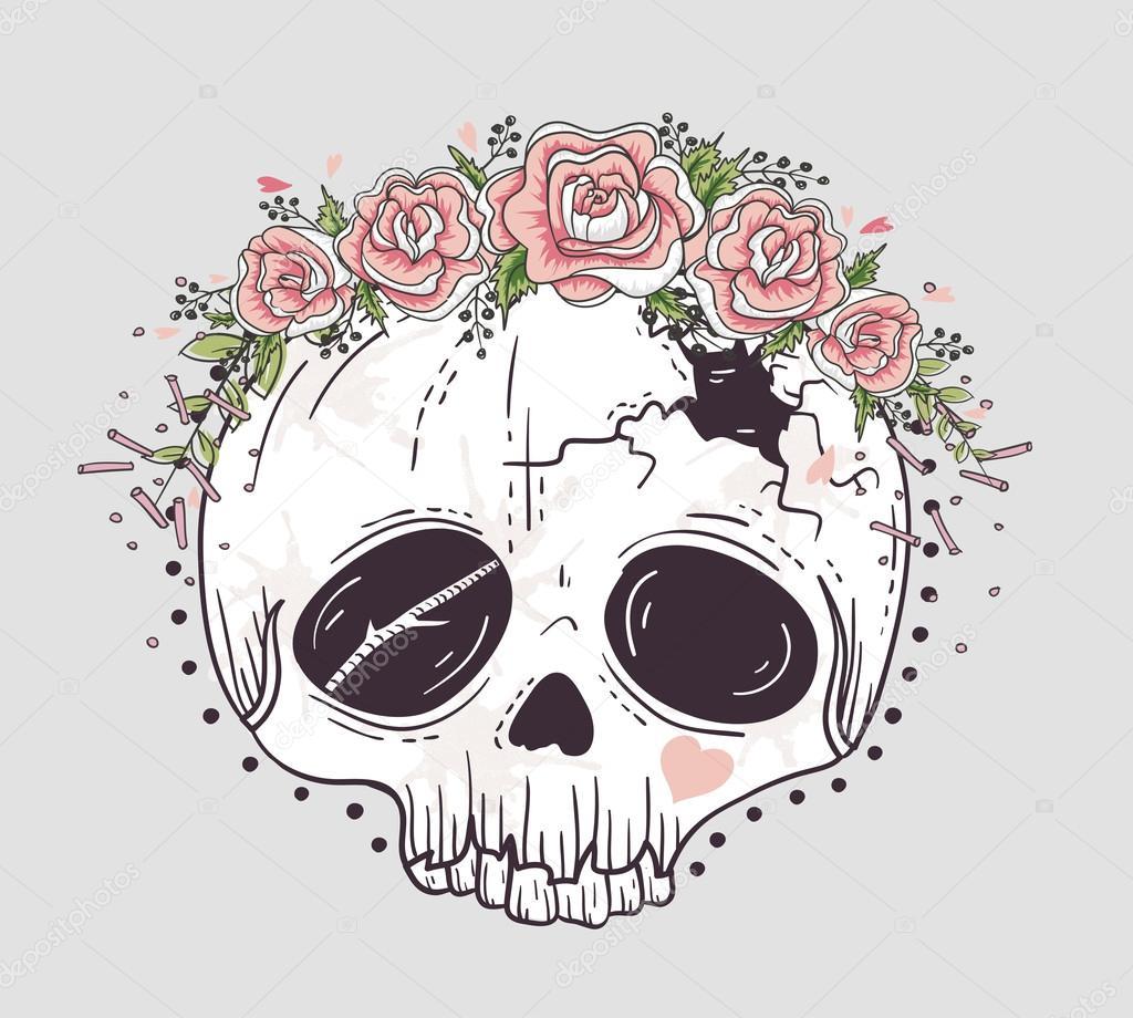 Cráneo De Estilo Lindo Tatuaje Calavera Con Corona De Flores