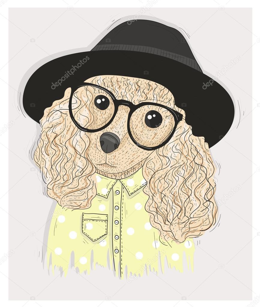 Perro lindo hipster con gafas. Ilustración de moda con Caniche ...