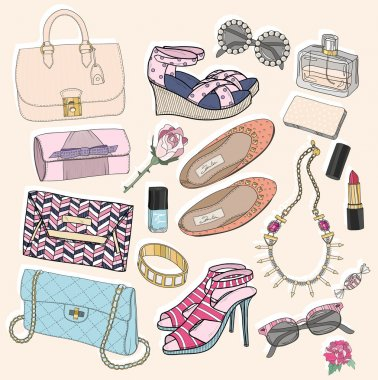Fashion accessories set. Background with bags, sunglasses, shoes