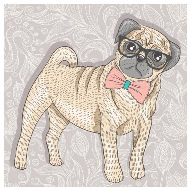 Hipster pug with glasses and bowtie. Cute puppy illustration for
