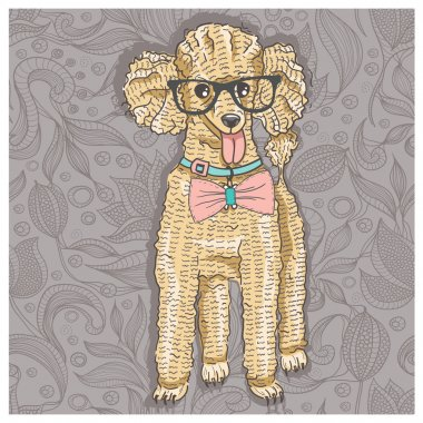 Hipster poodle with glasses and bowtie. Cute puppy illustration for children and kids. Dog background.