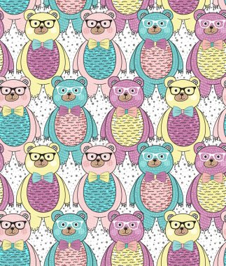 Seamless pattern with cute hipster bears for children or kids.