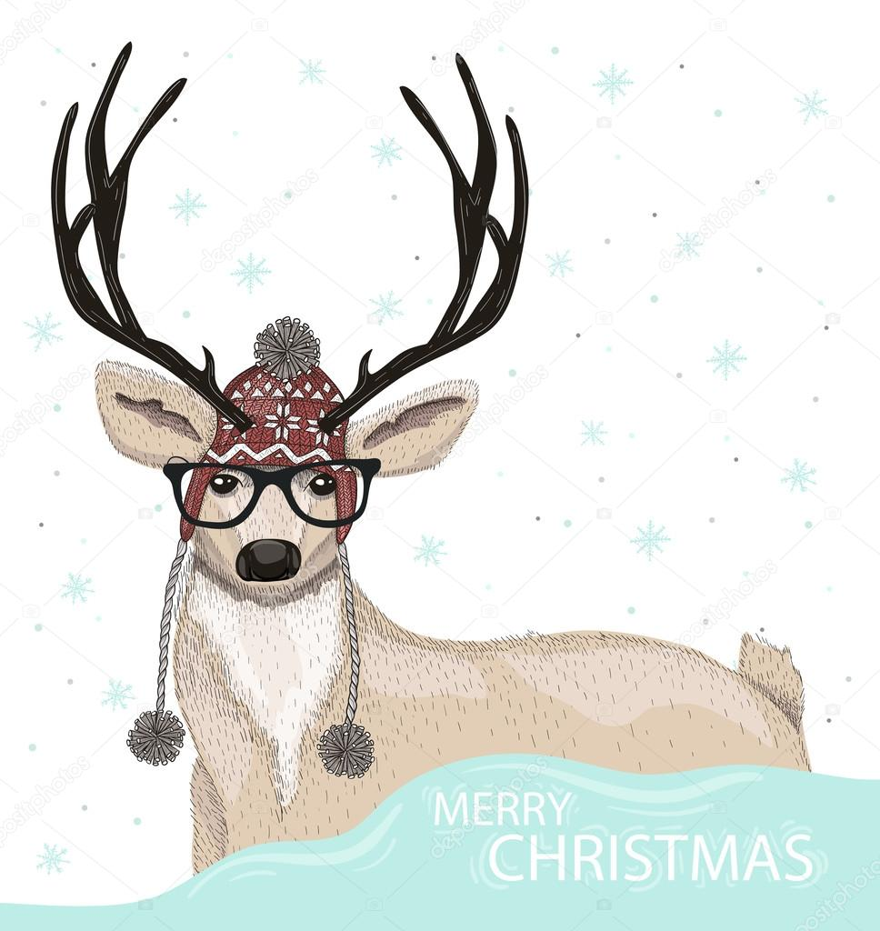 Cute Hipster Deer With Hat And Glasses Winter Background Christmas Greeting Card Vector By Lape Snape