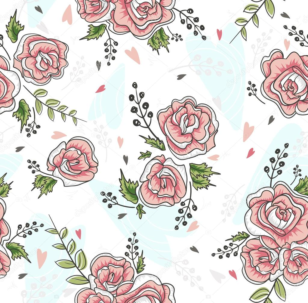 cute seamless vintage rose pattern background with