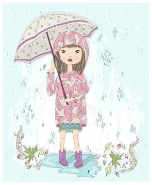 Cute little girl holding umbrella. Autumn background with rain,