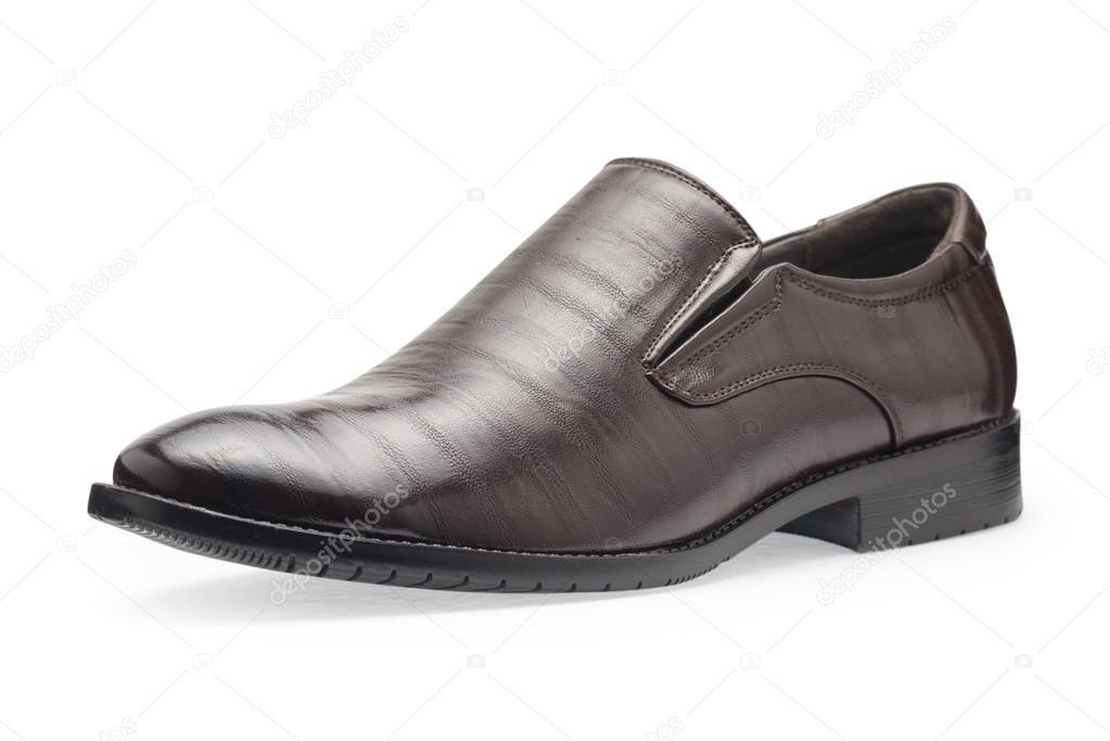1bb9f6412 Único de sapatos de couro marrom clássica para os homens, sem cadarços  sobre um fundo branco — Foto de ...