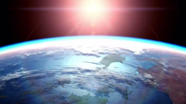 Pohled na západ slunce z vesmíru, krásný 3d animace