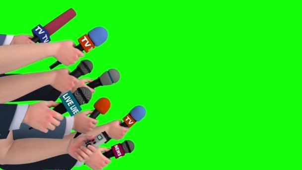 Reporter-Interview mit Mikrofonen auf grünem Bildschirm, Seitenansicht, Looping, 3D
