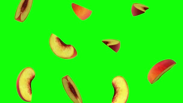 Pieces of peach falling on green screen, seamless loop, CG