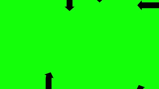 Animated black arrows on green screen, flat animation