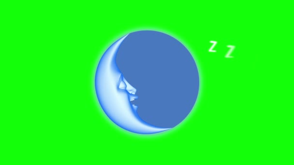 3D cartoon moon sleeping, seamless loop.