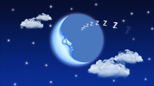 3D cartoon moon sleeping, seamless loop.