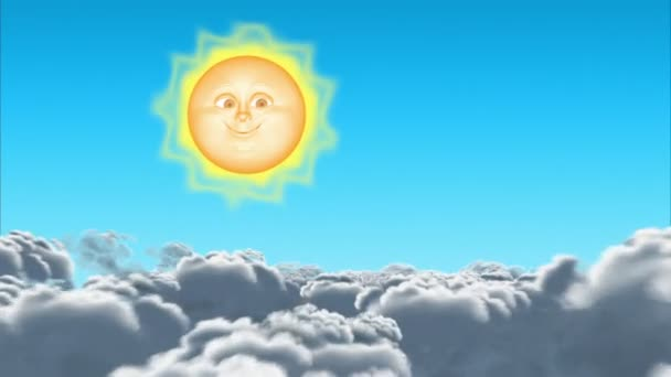 3D cartoon Sun & Moon in clouds, seamless loop.