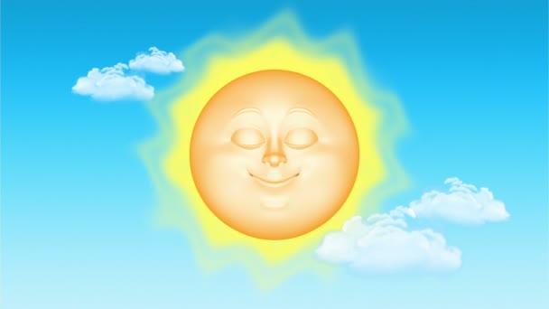 3D kreslený slunce, bezešvé smyčka