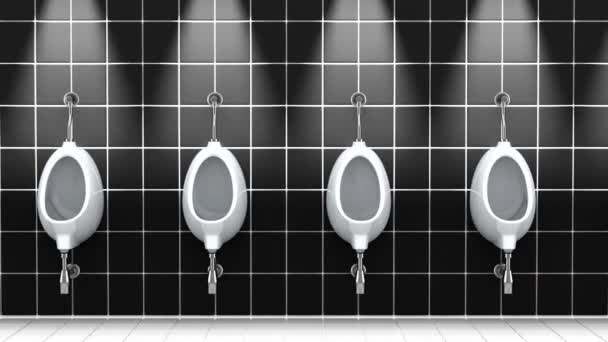 Urinals in a public bathroom. 3D animation, seamless loop.
