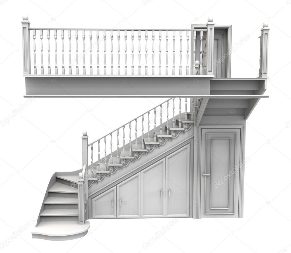 Witte houten trap versierd met houtsnijwerk en met gesloten d stockfoto rimira15 120072258 - Witte houten trap ...