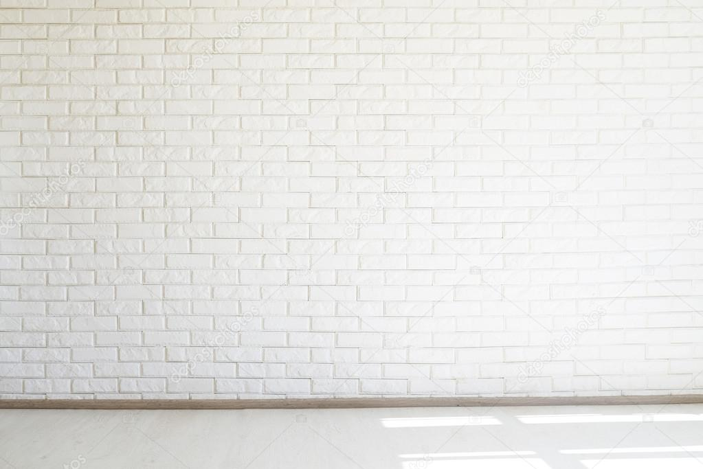 White brick wall, free space, white floor, soft light