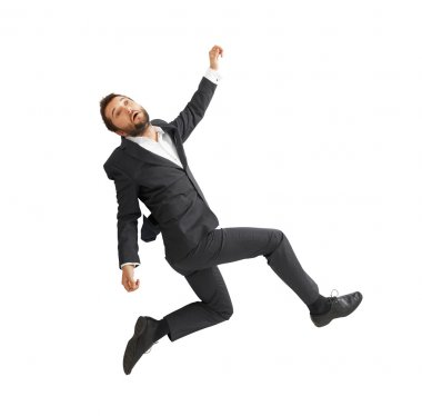 sad businessman falling down