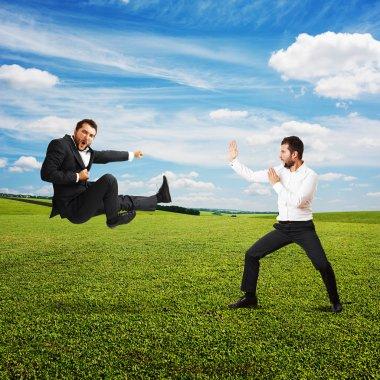 funny screaming businessmen