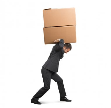 Tired businessman carrying two heavy boxes. isolated on white background stock vector
