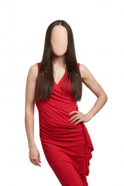 woman in red dress without face