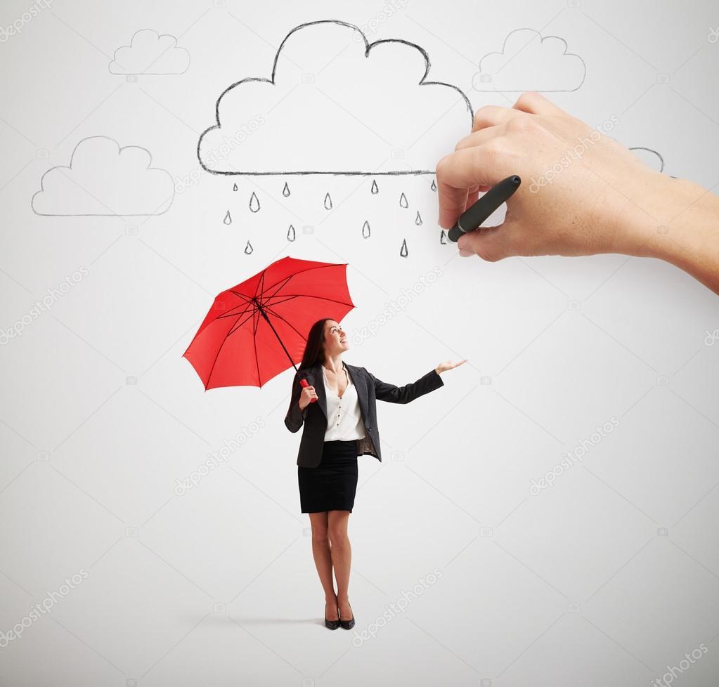 Donna con l 39 ombrello sotto la pioggia foto stock for Piani di fattoria sotto 2000 piedi quadrati