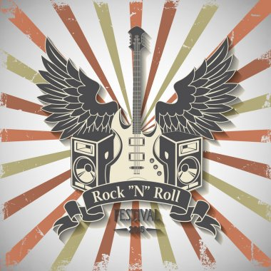 Symbol with guitar and wings