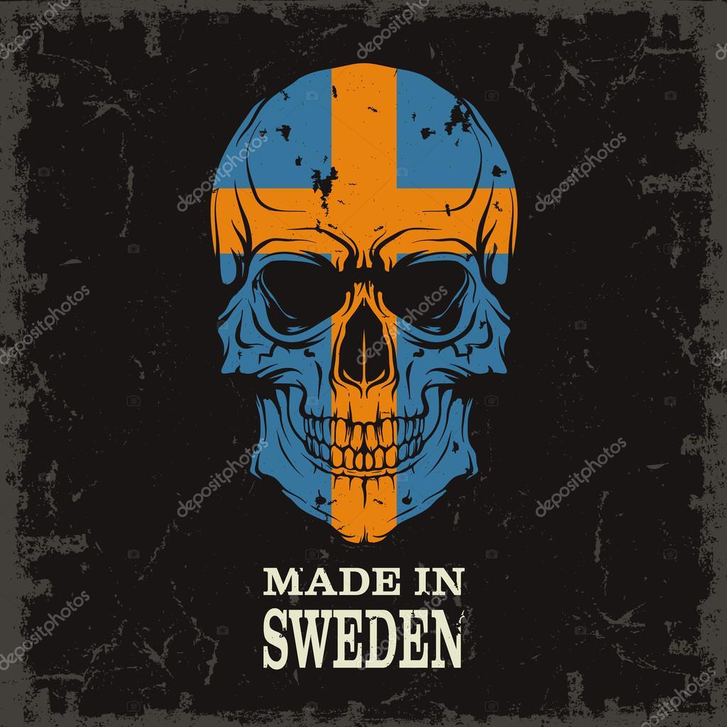 Skull with Sweden flag