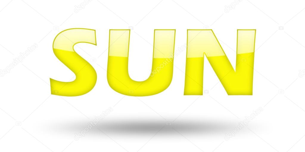Text Sun With Yellow Letters And Shadow Stock Photo Tpabma2