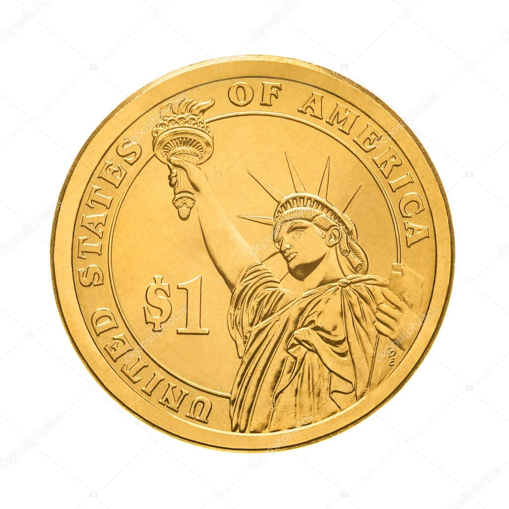 Ein Dollar Münze Statue Of Liberty Stockfoto Tpabma2 87835574