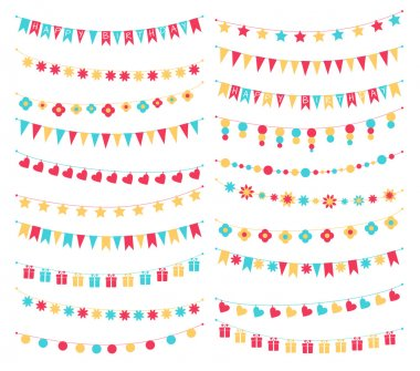 Vector set of birthday buntings and garlands