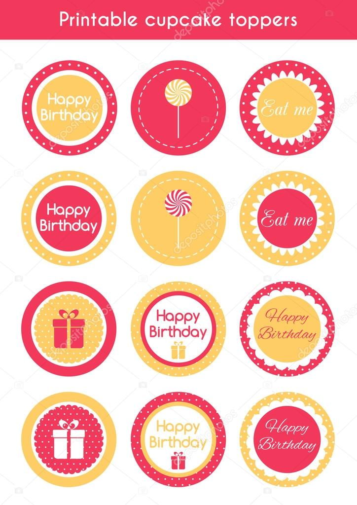 printable cupcake toppers stock vector artulina1 110726472