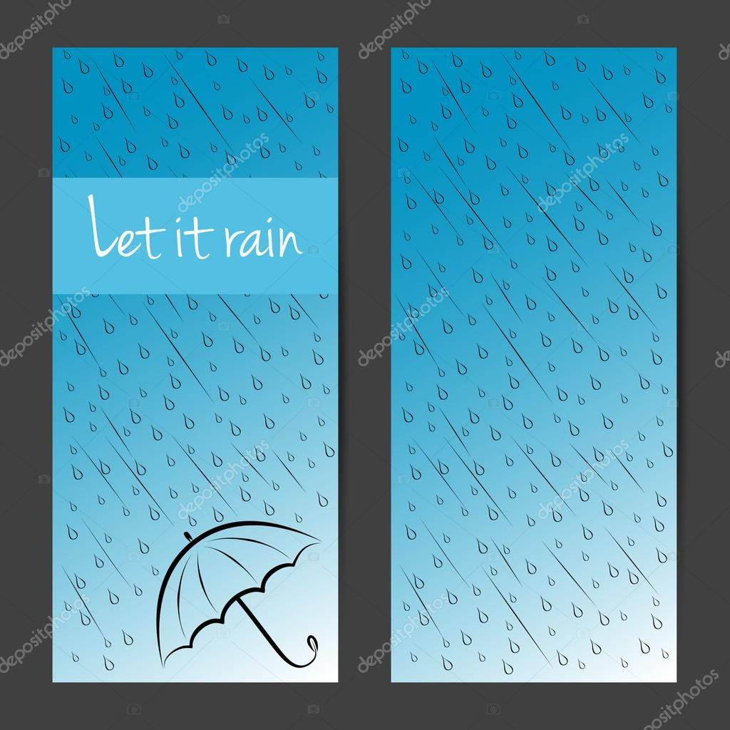 Vector banners, cards, brochures set. Let it rain