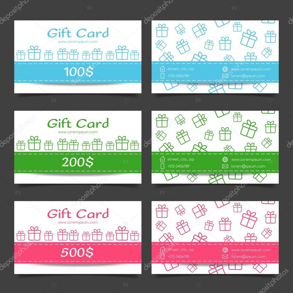 Satz von Geschenkkarten. Discount Zertifikat-Vorlage — Stockvektor ...