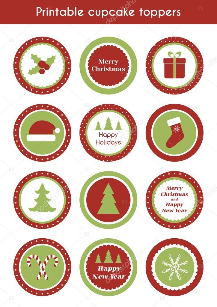 Toppers de cupcake para imprimir de Navidad — Archivo Imágenes ...