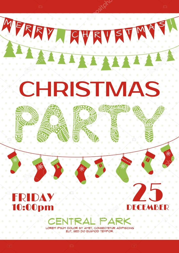 Plantilla de cartel de invitación de fiesta de Navidad — Archivo ...