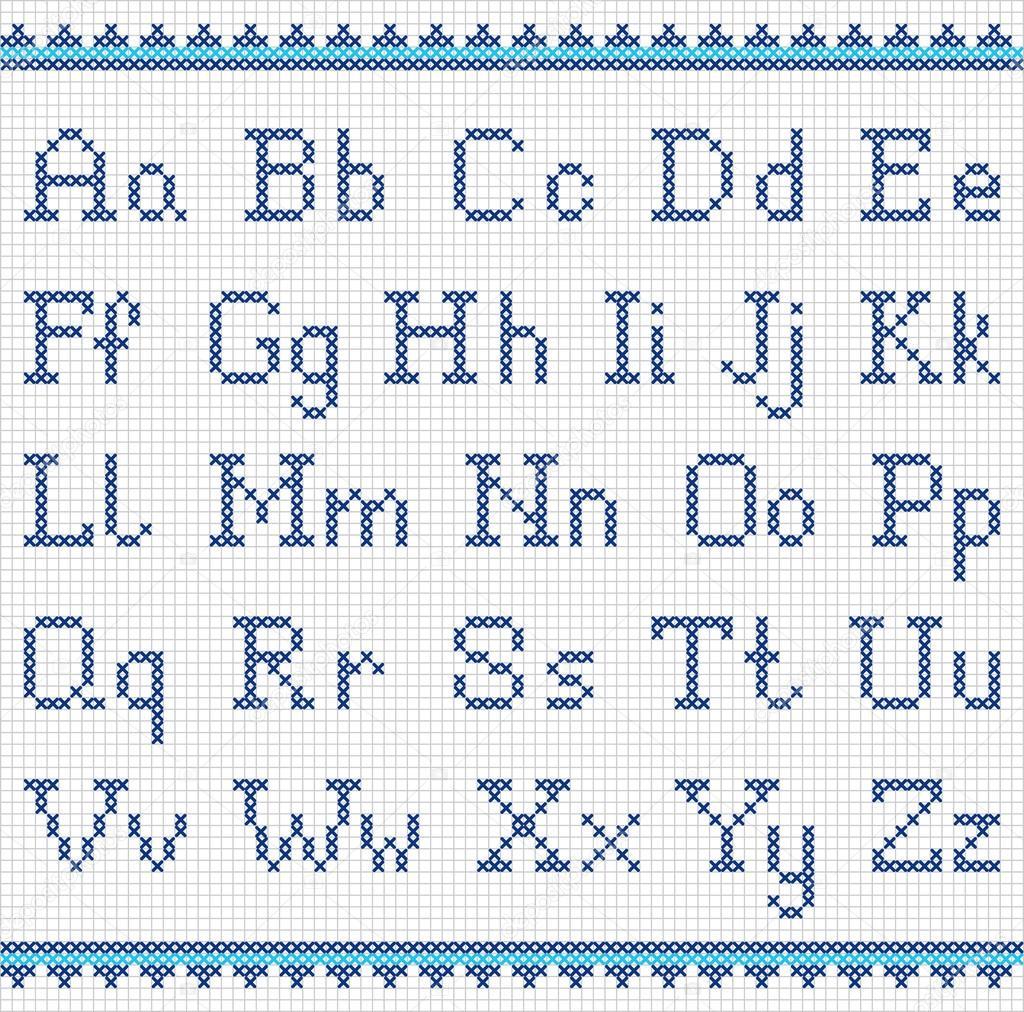 Turbo Sticken-Alphabet. Groß-und Kleinschreibung — Stockvektor EI56
