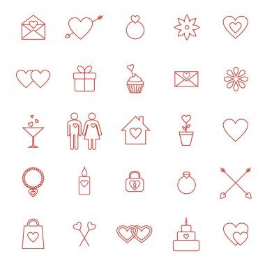 Vector set of line icons for Valentine day or wedding design clip art vector