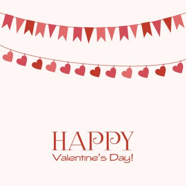 Valentines Day greeting card with garlands