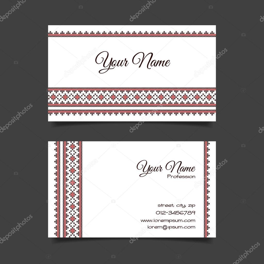 Business card template with stylish cross-stitch pattern — Stock ...