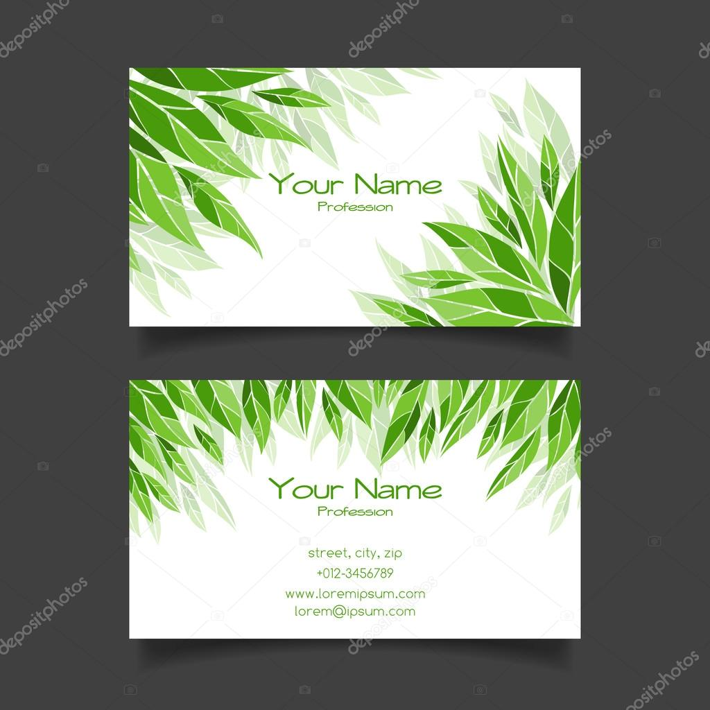 Business card with green leaves. Vector template — Stock Vector ...