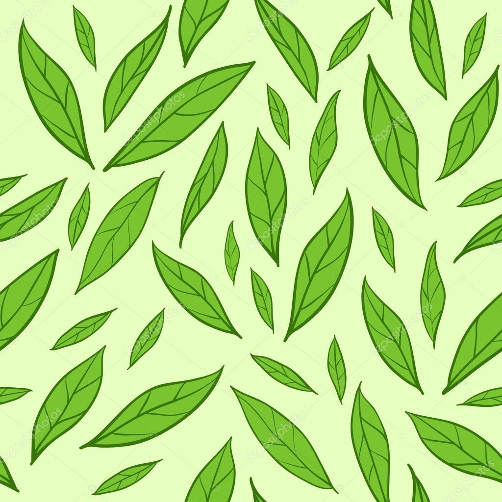 seamless pattern with green tea leaves u2014 stock vector artulina1